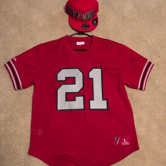 hot sale 1a19a 52089 Atlanta Falcons New Deion Sanders Jersey & Hat Set
